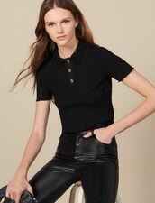 Ribbed polo shirt with guipure collar : FBlackFriday-FR-FSelection-30 color Black