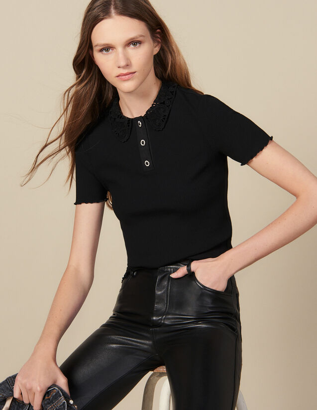 Ribbed polo shirt with guipure collar : FBlackFriday-FR-FSelection-30 color Black