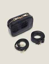 Embossed Crocodile Leather Banana Bag : New In color Black