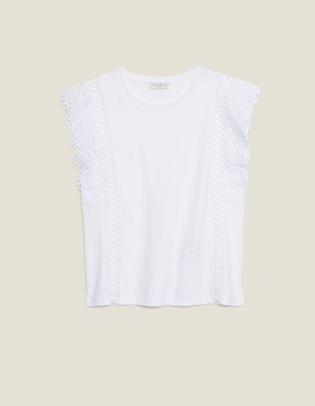 T-Shirt With Lace Braid Trims : T-shirts color white