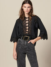 Top With Guipure Inserts : Tops & Shirts color Black
