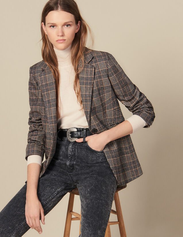 Checked Wool Blazer : Blazers & Jackets color Camel