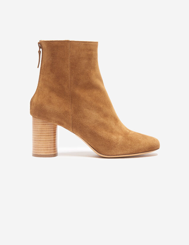 Split Leather Ankle Boots : null color Camel