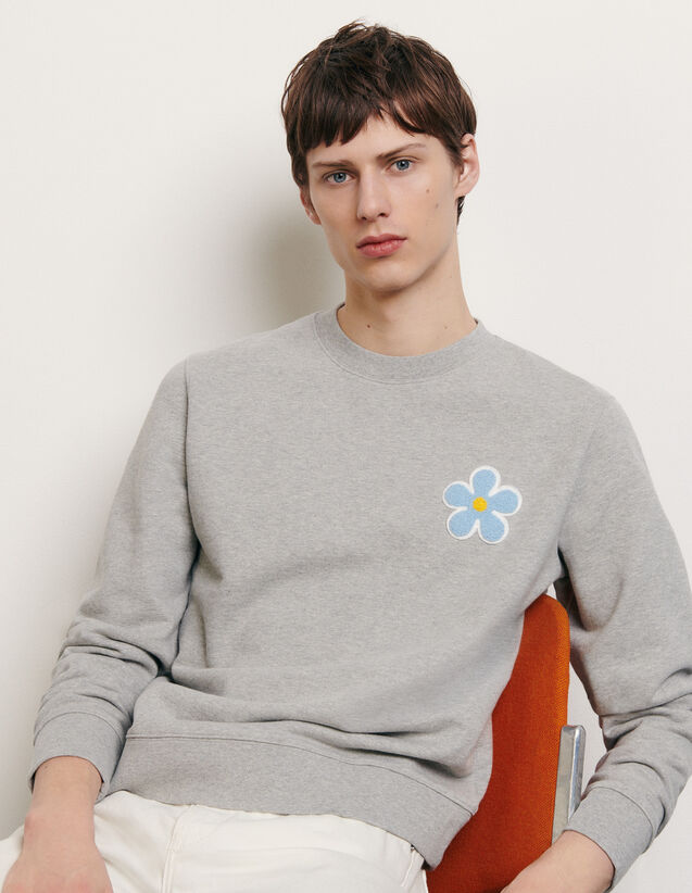 Sweatshirt with embroidered patch : Summer Collection color Mocked Grey