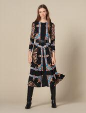 Long dress with block scarf print : Dresses color Black