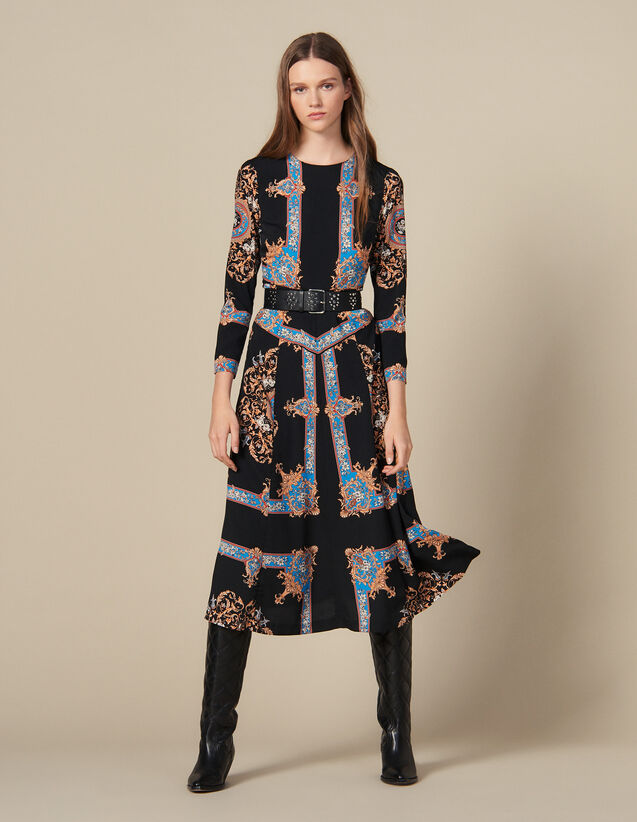 Long dress with block scarf print : Dresses color Black