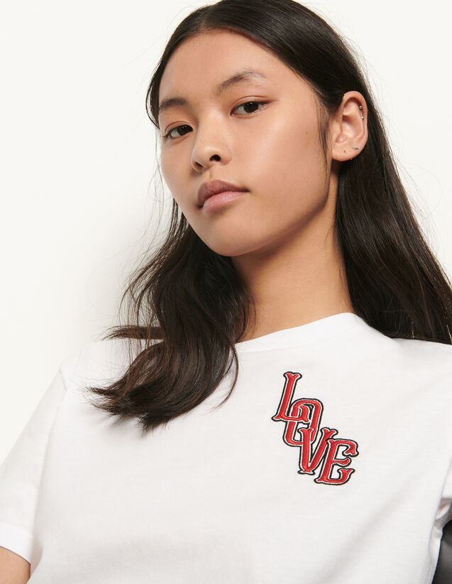 Organic cotton T-shirt with patch : Summer Collection color white