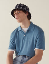 Short-Sleeved Linen Polo Shirt : T-shirts & Polo shirts color Light Blue