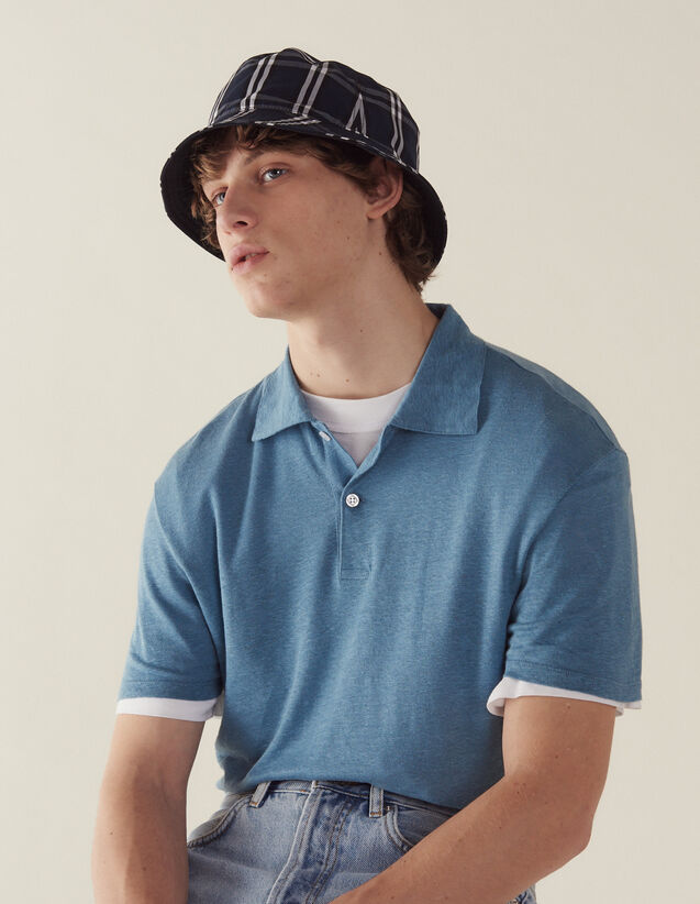 Short-Sleeved Linen Polo Shirt : Sélection Last Chance color Light Blue