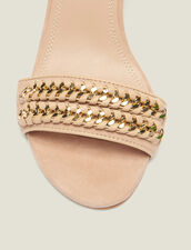 Sandals With Chain Woven Details : null color Nude