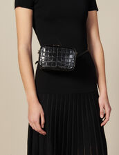 Embossed crocodile leather banana bag : Best of the season color Black