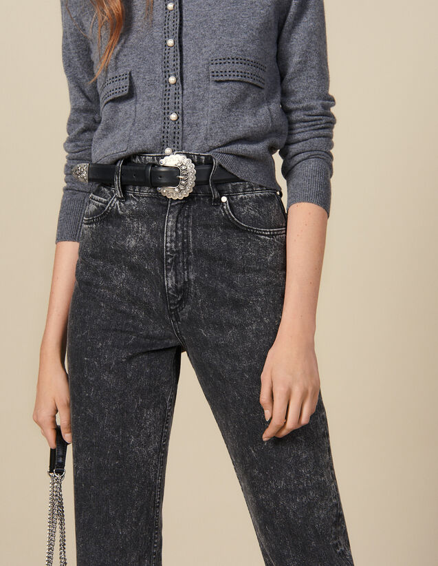 Leather Belt With Intricate Buckle : Belts color Black