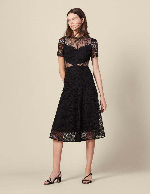 Long guipure dress : Dresses color Black