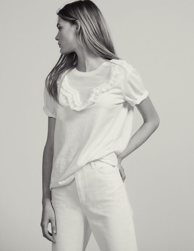 T-Shirt With Pleated Front Panel : T-shirts color white
