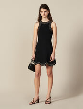 Short Knit Dress Trimmed With Studs : LastChance-ES-F50 color Black