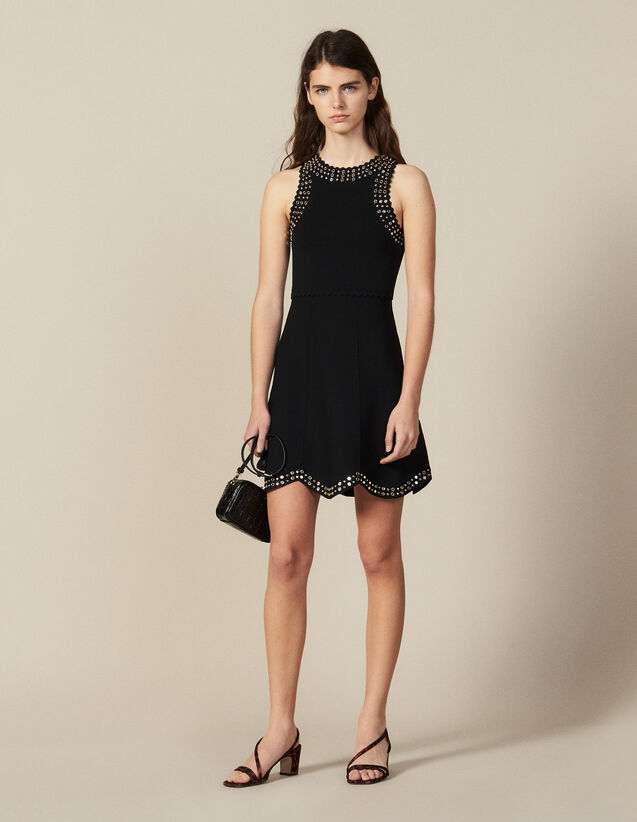 Short Knit Dress Trimmed With Studs : Dresses color Black