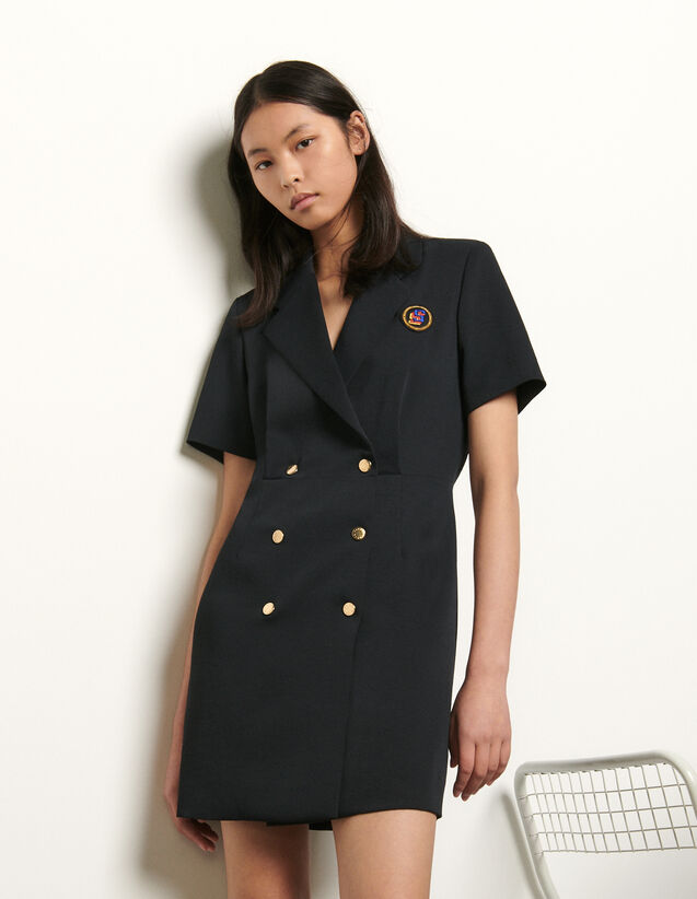 Tailored dress with button fastening : Summer Collection color Navy Blue