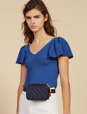 Fitted Knit Top : null color Blue