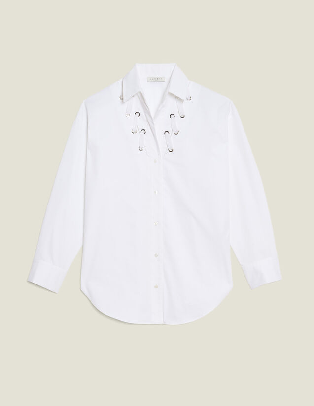 Low-Neck Shirt Trimmed With Eyelets : null color white