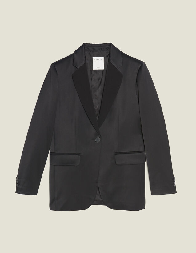 Matching Satin Tailored Jacket : Blazers & Jackets color Black