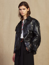 Fringed Leather Jacket : Blazers & Jackets color Black