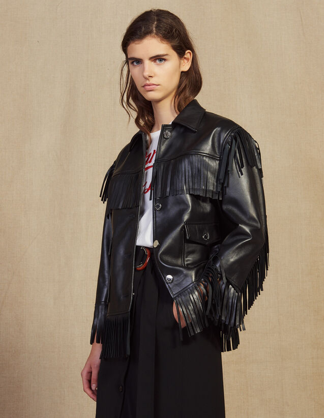 Fringed Leather Jacket : null color Black