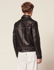 Topstitched Leather Jacket : Blazers & Jackets color Black