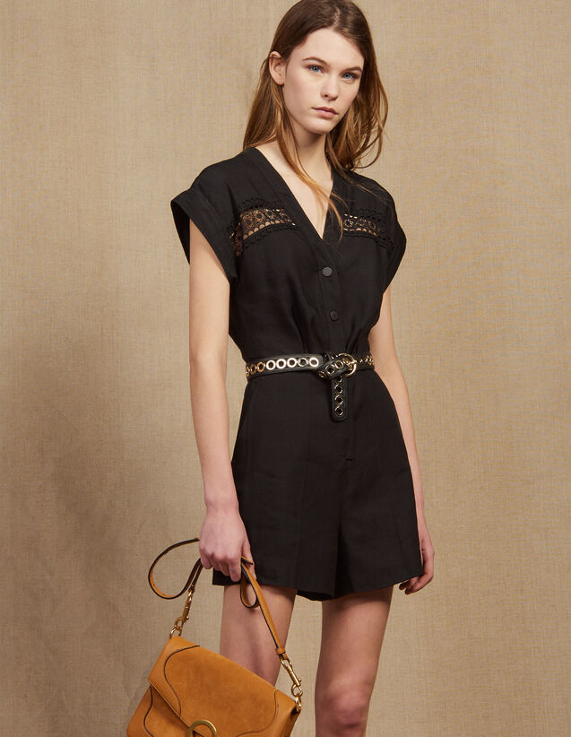 Sleeveless Playsuit : Jumpsuits color Black