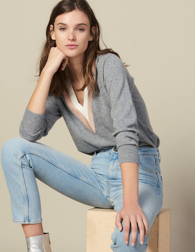 Knitted sweater with wide two-tone trim : Sweaters & Cardigans color Grey