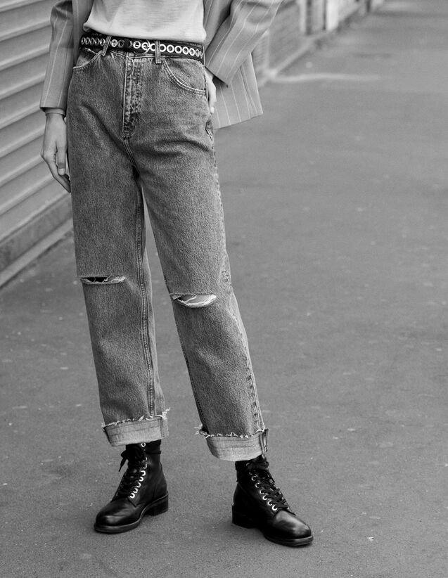 Straight-Cut, High-Waisted Jeans : All Selection color Blue Vintage - Denim