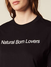 Oversized T-Shirt With Slogan : null color Black