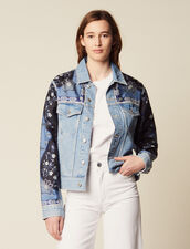 Denim Jacket With Printed Insets : null color Blue Vintage - Denim