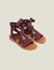 Flat Sandals With Scarf Tie Fastening : null color Bordeaux