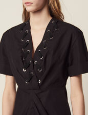 Short Dress With Interwoven Eyelets : null color Black