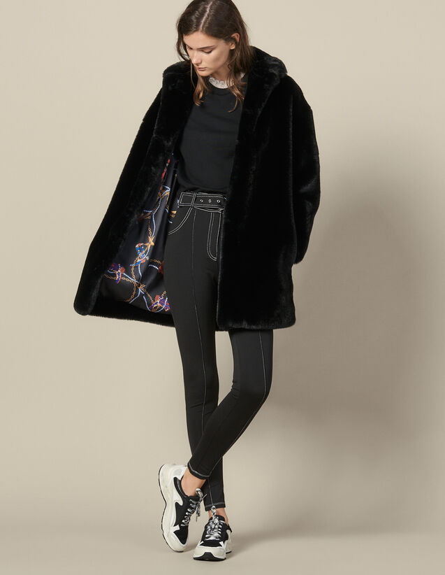 Short Faux Fur Coat : Coats color Black