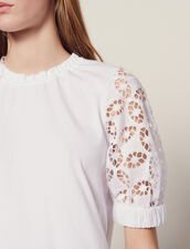T-Shirt With Lace Sleeves : T-shirts color white