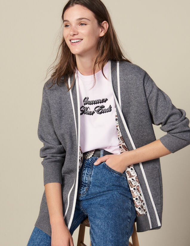 Cardigan With Printed Lining : Sweaters & Cardigans color Grey