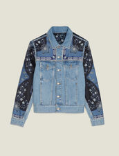 Denim Jacket With Printed Insets : Blazers & Jackets color Blue Vintage - Denim