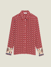 Printed Silk Shirt : null color Red