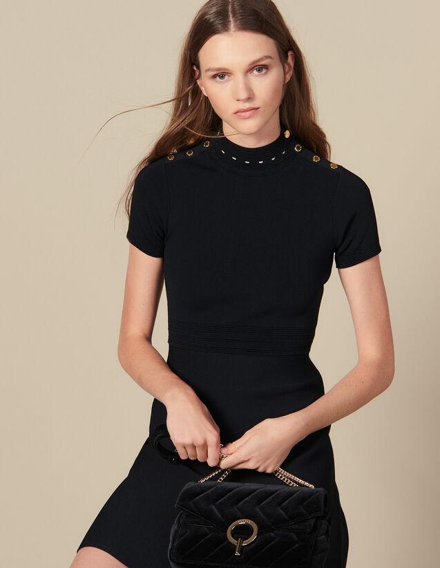 Knit Dress With High Neck : Dresses color Black
