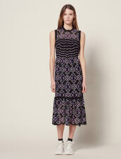 Midi Guipure Dress : null color Black