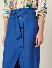 Belted Knee-Length Skirt : Skirts & Shorts color Blue