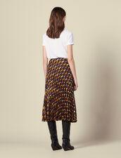 Printed pleated wraparound skirt : Skirts & Shorts color Black