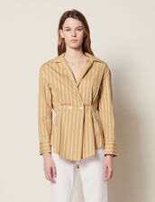 Long-Sleeved Striped Shirt : null color Beige