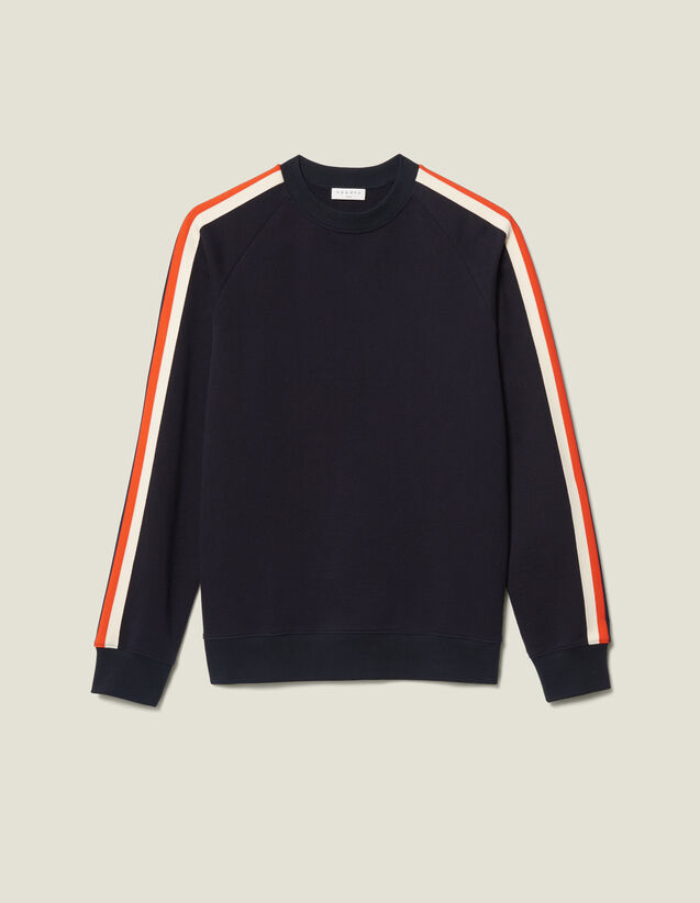Cotton Sweatshirt With Braid Trims : New Collection color Navy Blue