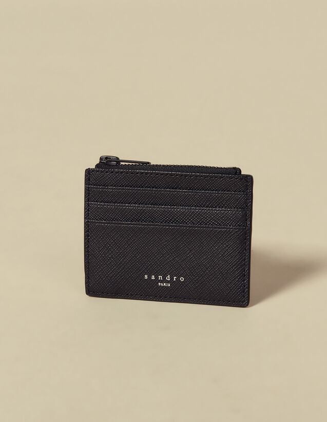 Saffiano Leather Zipper Card Holder : Card Holders color Black