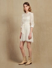 Short Lace Dress With Belt : Dresses color beige