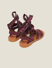 Flat Sandals With Scarf Tie Fastening : All Shoes color Bordeaux