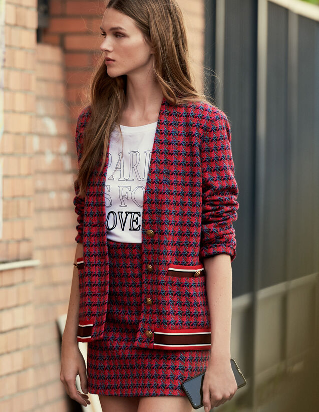 Tweed cardi-coat with jewelled buttons : Blazers & Jackets color Red