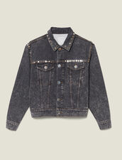 Snow Washed Denim Jacket With Studs : New In color Black